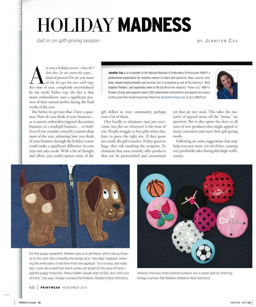 Printwear article by NNEP's Jennifer Cox - Holiday Madness