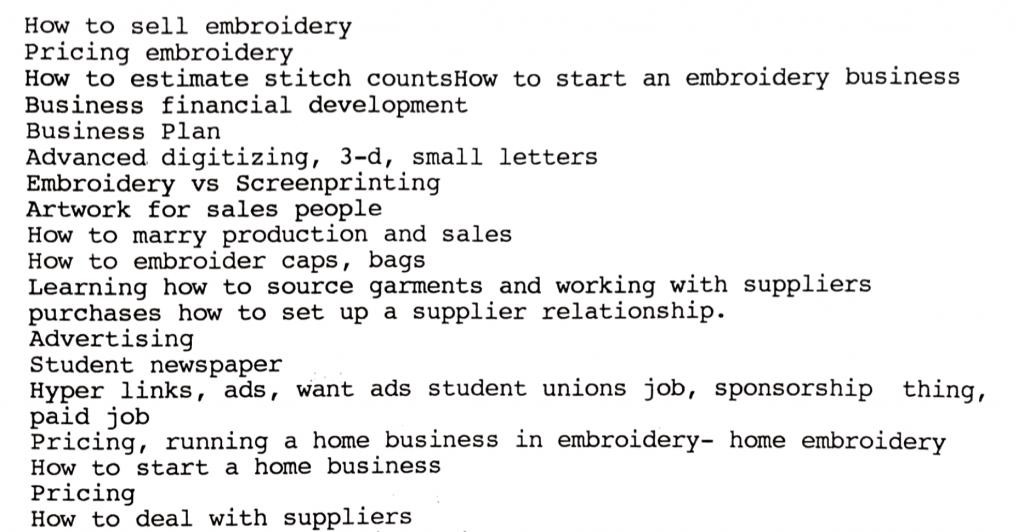 Embroidery University class topics