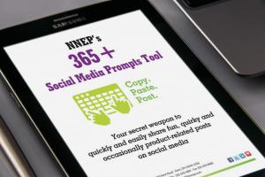 NNEP 365+ Social Media Prompts Tool on tablet